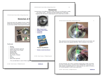 How to Make an Old Hubcap Clock Tutorial - Sample Pages